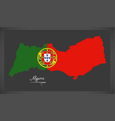 algarve portugal map with portuguese national flag vector image vector image