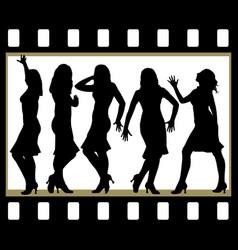 Attractive beautiful girls posing in film frame vector
