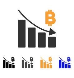Bitcoin recession bar chart icon vector