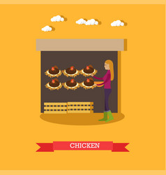 Chicken farm flat vector