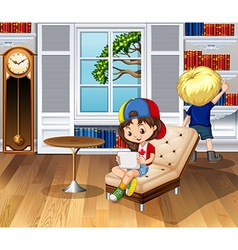 Children hanging out in the living room vector image vector image