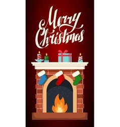 Christmas fireplace flat isolated vector image
