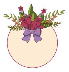 Circular floral spring frame with lilac ribbon vector