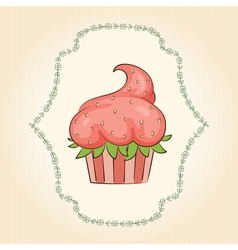 Cupcake look like strawberry vector