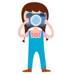 Cute girl photographer character vector image