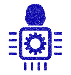 Cyborg processor icon grunge watermark vector