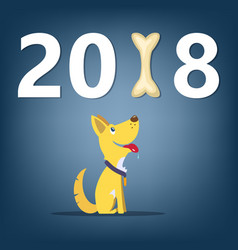 Dog symbol 2018 new year banner concept cartoon vector