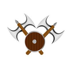 Double axe and shield logo banner vector