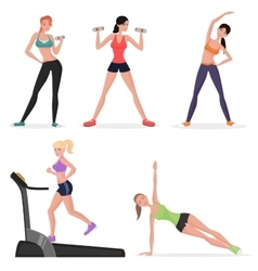 Fitness women female in gym set healthy lifestyle vector