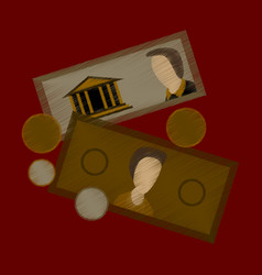 flat shading style icon banknotes and coins vector image