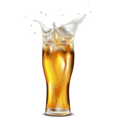 Glass of splashing beer vector image