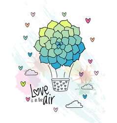 Hand drawn aerostat with succulent flower balloon vector