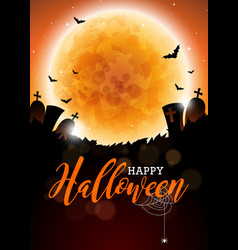 happy halloween with moon and vector image vector image
