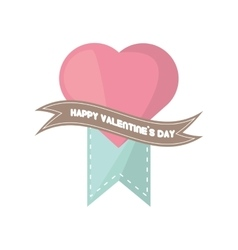 Happy valentines day card big pink heart banner vector