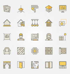 Home interior design colorful icons vector