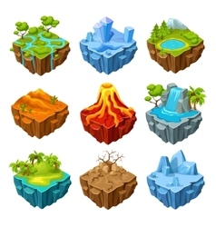 Islands of computer game isometric set vector