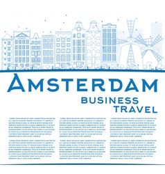 Outline Amsterdam city skyline with blue buildings vector image vector image