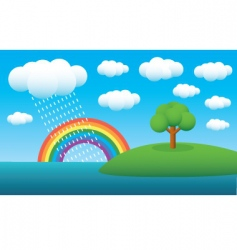 rainbow landscape vector image vector image