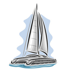 Sailing catamaran vector