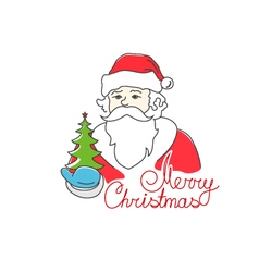 Santa Claus Holds Christmas Tree vector image