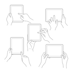 Set of tablet screen with hands vector image