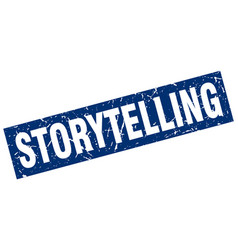 Square grunge blue storytelling stamp vector