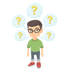 Thinking caucasian boy with question marks vector