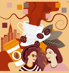 Two girls over coffee cup background break vector