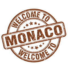Welcome to monaco brown round vintage stamp vector