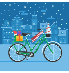 Winter bike with christmas gifts vector