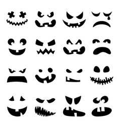 Scary halloween pumpkin faces set vector