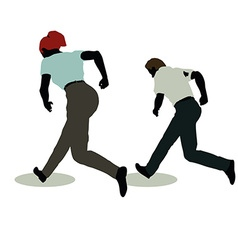 man and woman silhouette in Standing Running vector image