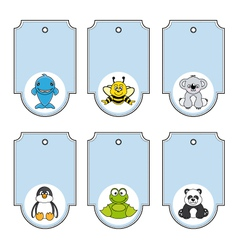cartoon animals labels set vector image