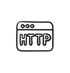 Browser window with http text sketch icon vector