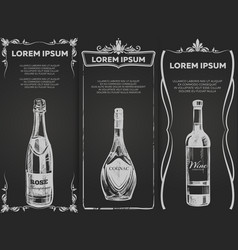 Hand drawn alcohol drinks banners template vector