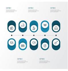 Multimedia outline icons set collection of audio vector