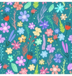 Colorful flowers seamless pattern vector