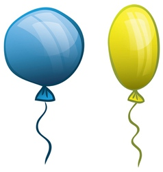 Two balloons blue and yellow vector