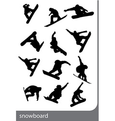 Snowboard silhouettes vector