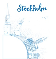 Outline stockholm skyline with blue buildings vector