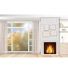 Interior with fireplace of white brick vector