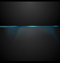 Dark perforated background with blue glow light vector