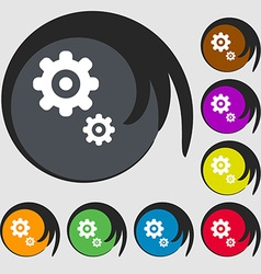 Gears icon symbols on eight colored buttons vector