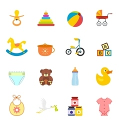 Baby flat icon set vector