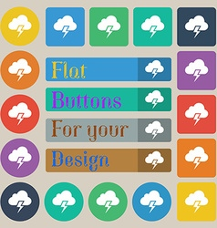 Heavy thunderstorm icon sign set of twenty colored vector