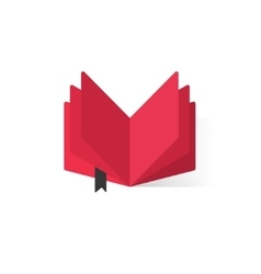 Red open book with abstract pages and bookmark vector