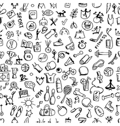 Fitness seamless pattern sketch for your design vector