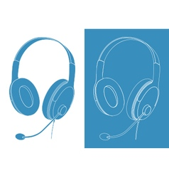 Blue headphones with microphone isolated vector