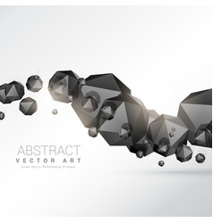 Abstract floating black polyhedron shapes 3d vector