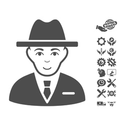 Agent icon with tools bonus vector